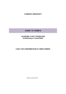 Guide to FORM D - academic staff probation